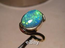 Australian Opal Anneau 4,2 Grammes Solide 14k Or Jaune Gratuit Re Taille