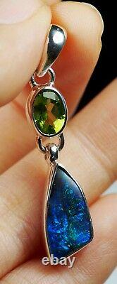 Australien Bleu Vert Queensland Boulder Solid Opal Pendentif En Argent Marqué Hallmarked