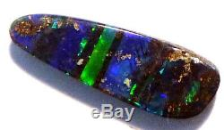 Australien Opal Boulder Solid Loose Stone Bleu / Vert Électrique 13x4mm (2504)