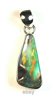 Australien Queensland Boulder Solid Opal Argent 925 Pendentif Green Hallmarked