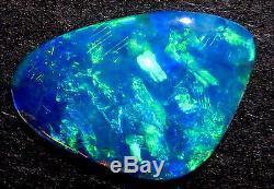 Australien Skinny Shell Cristal Opale Solide Lâche Pierre Bleu Vert 14x10mm