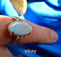 Australien Solid Opal Deco Fiançailles Anneau Vert Bleu Rouge Jaune Orange Noir