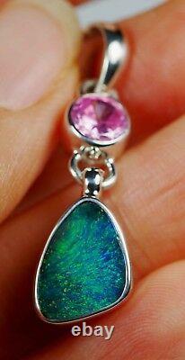 Australien Vert Bleu Queensland Boulder Solid Opal Pendentif En Argent Marqué Hallmarked
