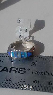 Australienne Solide Noir Opale De Feu En Argent Sterling Bague Pour Femme 6.5 Bague Bleu Noir