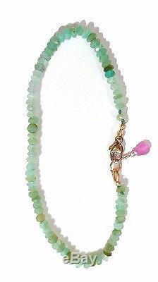 Authentique Bracelet En Opale Péruvienne Nouée Écaillée Verte En Or Massif 14 Carats 2mm 7