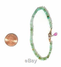 Authentique Bracelet En Opale Péruvienne Nouée Écaillée Verte En Or Massif 18 Carats 2mm 7