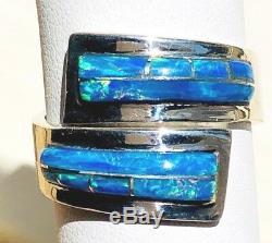 Autour Magnifique Opal'wrap ' Annulaire Sterling 7 Solide Bleu Vert Bypass