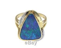 Bague À Diamants En Véritable Opale D'australie, Or Jaune 14k À 15,25 MM