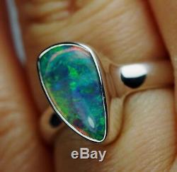 Bague Australienne En Cristal Massif Australien Argenté Vert Bleu Uk