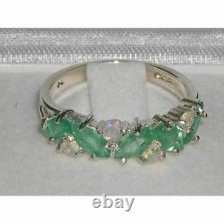 Bague D'anniversaire De Qualité Solid Sterling Silver Natural Emerald & Opal Eternity