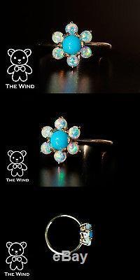 Bague De Fiançailles En Opale Australienne Turquoise Blossom Turquoise En Or Jaune 14k