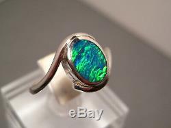 Bague En Argent Massif Sertie De Opales Australiennes, Vert Électrique Massif, Taille 7 3/4