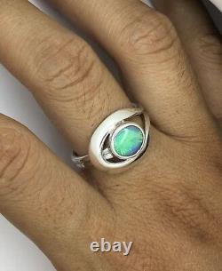 Bague En Argent Opale, Opale Crête Éclair Solide Véritable, Bague En Main