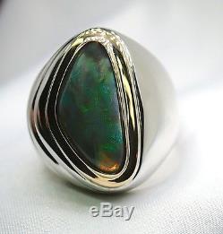 Bague En Argent Sterling Et En Or Jaune 18k Sertie D'opale Solide De 4,34 Carats Pour Homme