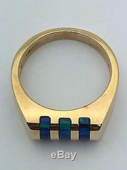 Bague En Opale Bleue Et Verte À Rayures Massives En Or Jaune 14k, Taille 7.75 5.9g