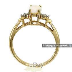 Bague En Or 14k À Diamants Avec Opale Solide