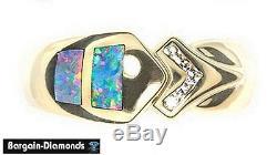 Bague En Or 14k Sertie De Diamants Opale Solide Incrustée D'opale Australienne Rose Rouge Vert
