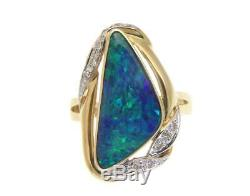 Bague En Or Avec Diamants En Véritable Opale Australienne