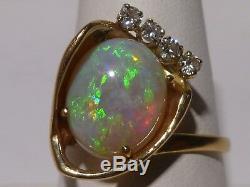 Bague En Or Massif 14 K Avec Opale Verte Vintage De 0,16 Ct Sertie De Diamants