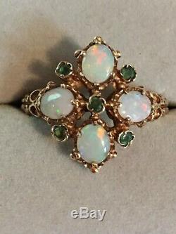 Bague En Or Massif Avec Émeraude Et Opale De Feu, Style Antique