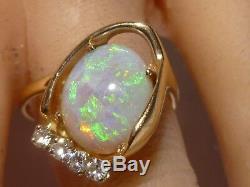 Bague En Or Massif Sertie De Diamants, Opale Verte, Opale Verte Vintage