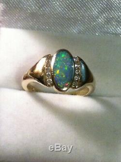 Bague Kabana En Or Jaune 14k Avec Opale Noire Et Diamant Rouge Bleu Vert Jaune