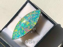 Bague Massive Solide 6 Dames 20c Du Prototype D'opale Noire D'opale Noire De Qualité De Museum