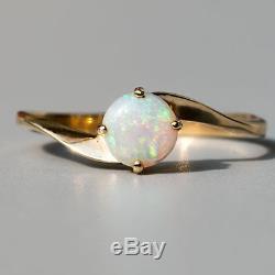 Bague Opale Australienne Naturelle Naturelle, Ronde Et Minimaliste