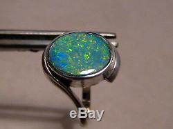 Bague Opale Australienne Solide En Argent Massif, Taille 8 3/4 Libre De Redimensionner