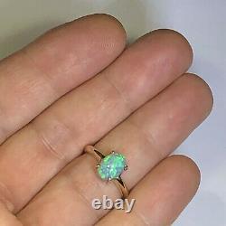Bague Opale Australienne Video 14k Or Cristal Haute Dôme Solide Lr Gem 1.68ct W097