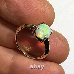Bague Opale Australienne Video Gem Crystal Lr Solid 14k Gold 4 Prong Band 1,25ct W26