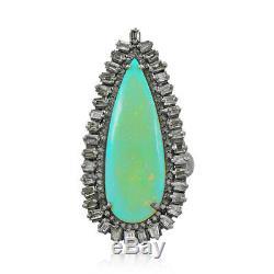 Bague Opale Diamant Argent 925 Taille 7 Bijoux Cadeaux Grams Solides Naturels