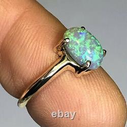 Bague Opale En Cristal Australien Video 14k Gold High Dome Lr Solid 1.68ct Gem W097