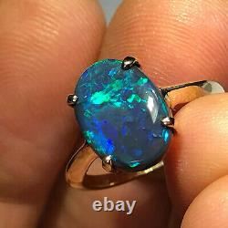 Bague Opale Noir Australienne Video Or 14k Lr Solid 2.5ct Gemme Bleu Vert Y16