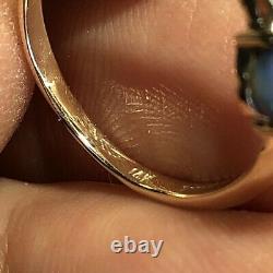 Bague Opale Noire Australienne Video 14k Gold Gem Solide. 61ct Cabine Bleu Vert X006
