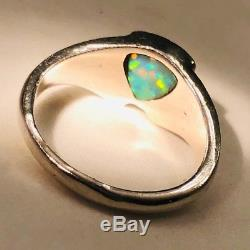 Bague Pour Femme 5 1/2 Déco David Freeland Bleu Sterling Vert Opale Massif