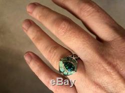 Bague Pour Femme 6 1/2 Elven David Freeland Bleu Sterling Vert Opale Massif