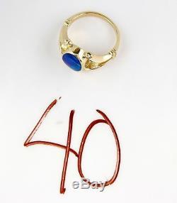 Bague Pour Femme En Or Jaune Massif Sertie D'une Opale Bleue Naturelle Naturelle De 14 Carats