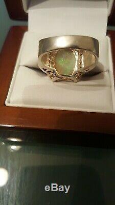 Bague Pour Homme Antique Avec Opale Verte Solide Naturelle D'environ 5 Ct Environ 925 Argent