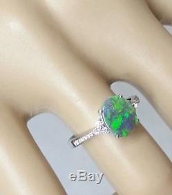 Bague Solide En Alliage D'opale Noir Solide Bleu Et Vert En Or 18 Carats, Nouvelle Taille M. 5