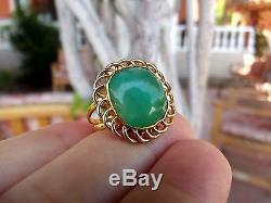 Bague Solitaire Faite Main En Or Massif À Serti D'une Opale Verte De 7,1 Ct