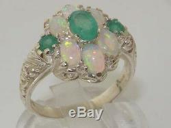 Bague Style Art Nouveau En Argent Sterling 925 Massif Avec Émeraude Naturelle Et Ardent Opale