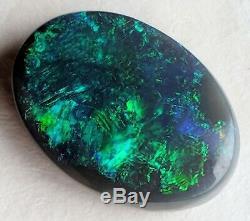 Balle! 5.4ct Solid Black Opal Green & Blue Ovale De Lightning Ridge