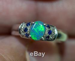 Belle Bague En Argent Sterling 925 Avec Opale Noire Naturelle Et Solide, Taille 6 Bijoux