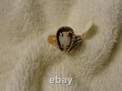 Belle Bague Solid 10k Or Jaune Fire Opal Vintage Designer Taille 7.0