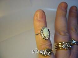 Belle Victorian Solid 9 Ct Gold Ring Rare-superb Green Opal &spinnels-size I