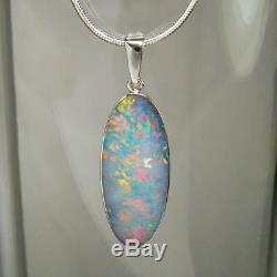 Big Pendant Opal Naturel Inlay Australien Cadeau En Argent Massif Collier 10.9ct A06
