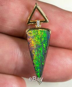Bijoux De Dames Avec Pendentif En Or Jaune Massif Serti D'opale Naturelle Massive