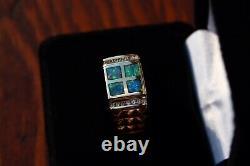Black Gold Australien Mens Opal Anneau Inlay Avec Accent De Diamants