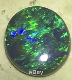 Bleu Clair Et Vert 4,06 Carat Solide Lightning Ridge Black Opal